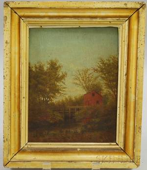 American School 19th Century Oil on Panel View of Pearsons Snuff Mill Byfield