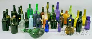Thirtythree Assorted Colored Glass Bottles