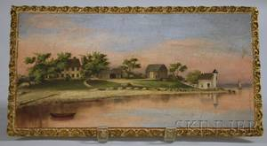 20th Century American School Oil on Panel View of the William Pierce Home and Lighthouse Bristol Rhode Island