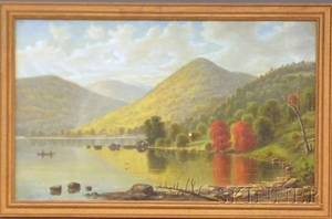 19th20th Century American School Oil on Canvas Depicting an Indian Canoe in a Mountain Lake