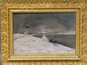 19th20th Century American School Oil on Canvas Winter Night Scene