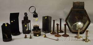 Thirteen Assorted Tin and Metal Lighting Devices