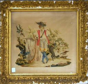Framed 19th Century Needlepoint and Berlinwork Panel of a Boy and Dog