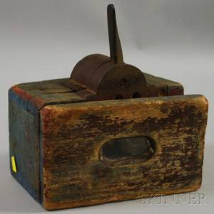 Blue and Redpainted Wood and Iron Midway Attendance Counting Machine