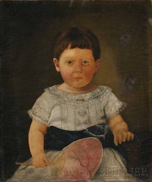 American School 19th Century Oil on Canvas Portrait of a Child Holding a Japanese Hand Fan