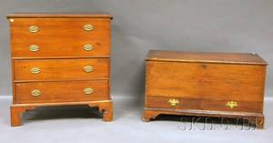 Pine Dovetailconstructed Blanket Chest with Two Short Drawers and a Pine Blanket Chest over Two Long Drawers
