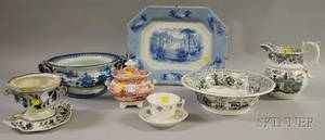 Nine Pieces of Assorted English Mostly Transferdecorated Staffordshire Tableware