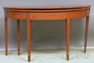 Federal Inlaid Cherry Demilune Card Table