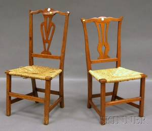 Two Country Chippendale Birch Side Chairs with Woven Rush Seats