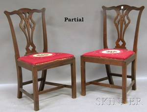 Set of Six Chippendalestyle Carved Mahogany Dining Side Chairs