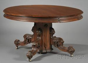 Victorian Renaissance Revival Carved Walnut Pedestalbase Dining Table