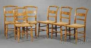 Set of Six Classical Tiger and Birdseye Maple Side Chairs with Woven Rush Seats