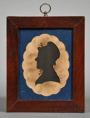 Silhouette Portrait of a Woman Wearing a Bonnet