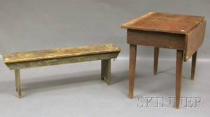 Graypainted Wood Bucket Bench and Small Pine Table with Single Drop Leaf