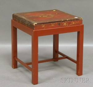 Chinese Export Giltdecorated Red Lacquer Lidded Box on Stand