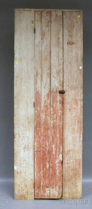 Country Red over Whitepainted Wood Corner Cupboard