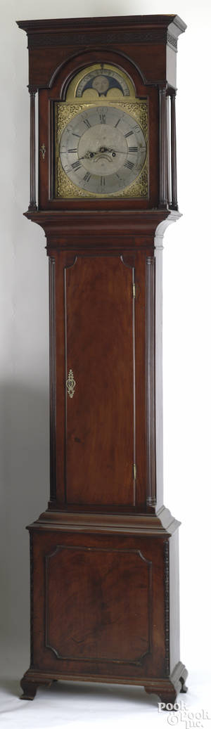 Philadelphia Chippendale mahogany tall case clock ca 1780