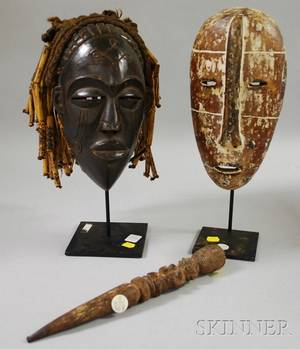 Chokwestyle and Legastyle Carved Wooden African Masks and Carved Wooden Septer