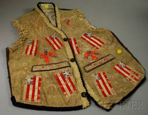 Native American Hide and Quill Flag Vest