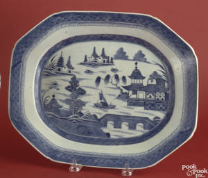 Chinese export blue and white platter in the Canton pattern