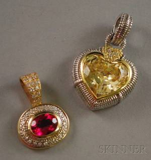 Two Gold Gemstone and Diamond Pendants
