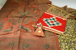 Native American Navajo Sample Loom Porcelain Head Doll and Three Textiles