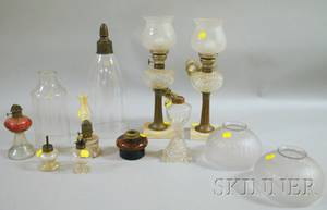 Six Small Glass Oil Lamps a Pair of Oil Lamps Two Glass Sconce Shades and a Pair of Small Etched Glass Dome Shades