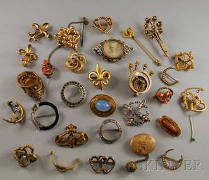 Group of Gold Silver and Costume Antique Brooches