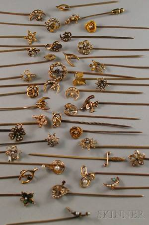 Large Group of Mostly Art Nouveau Seed Pearl Stickpins