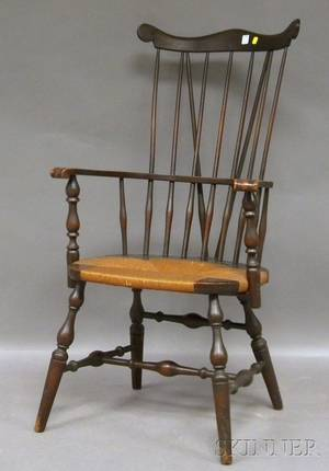 Colonial Revival Windsor Carved Maple Braceback Knuckle Armchair