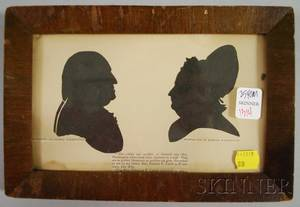 Framed Miniature Cut Paper Silhouettes of George and Martha Washington