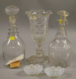 Colorless Pressed Pattern Glass Vase Two Blown Molded Decanters and a Pair of Sandwich Opalescent Lacy Glass Salts