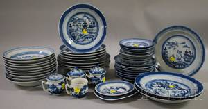 Fortyfive Pieces of Chinese Export Porcelain Canton Tableware