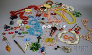 Group of Bakelite Lucite and Plastic Jewelry