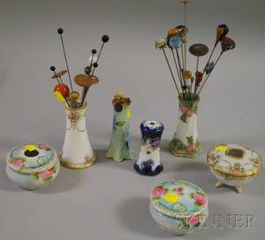 Group of Hat Pins and Seven Porcelain Hat Pin Holders Hair Receivers and Jars