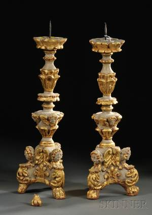 Pair of Italian Baroque Carved Giltwood Pricket Candlesticks