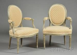 Pair of Louis XVI Greenpainted Fauteuils en Cabriolet