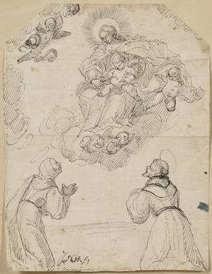 Lot of Six Old Master Drawings Continental School 18th Century King with Arms Outstretched