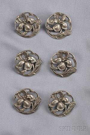 Six Art Nouveau Sterling Silver Buttons Deakin  Francis