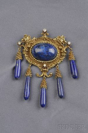 18kt Gold Lapis and Diamond BroochPendant Erwin Pearl