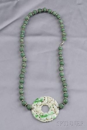 Jade and Aventurine Bead Necklace