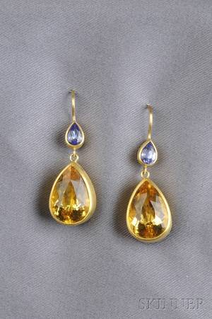 18kt and 22kt Gold Citrine and Sapphire Earpendants