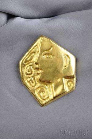 Artistdesigned 23kt Gold PendantBrooch Le Profil Jean Cocteau