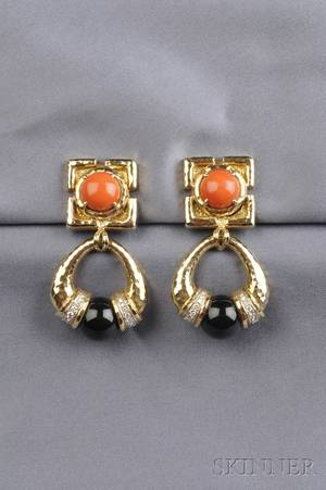 18kt Gold Coral Onyx and Diamond Earpendants