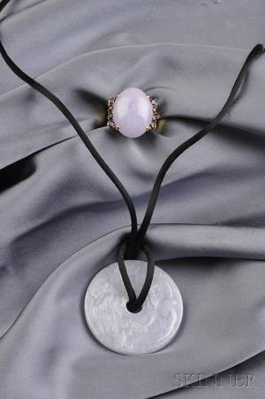 18kt Gold Lavender Jade and Amethyst Ring and Pendant