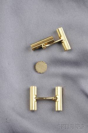 18kt Gold Cuff Links and Tie Tack Van Cleef  Arpels France