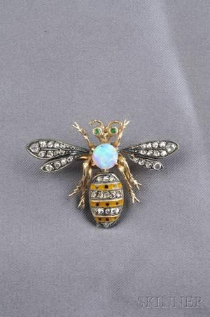 Enamel and Gemset Bee Brooch