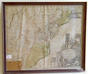 Copper plate engraved map of Virginia and Maryland ca1730