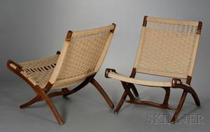 Two MidCentury Modern Folding Chairs