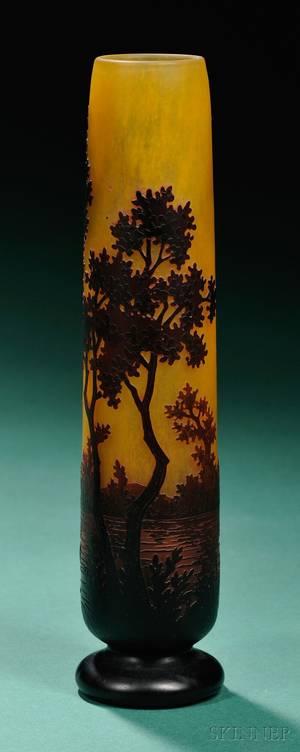 Daum Decorated Cameo Glass Vase